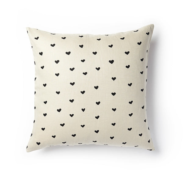 Mini Hearts Pillow - Raven Black
