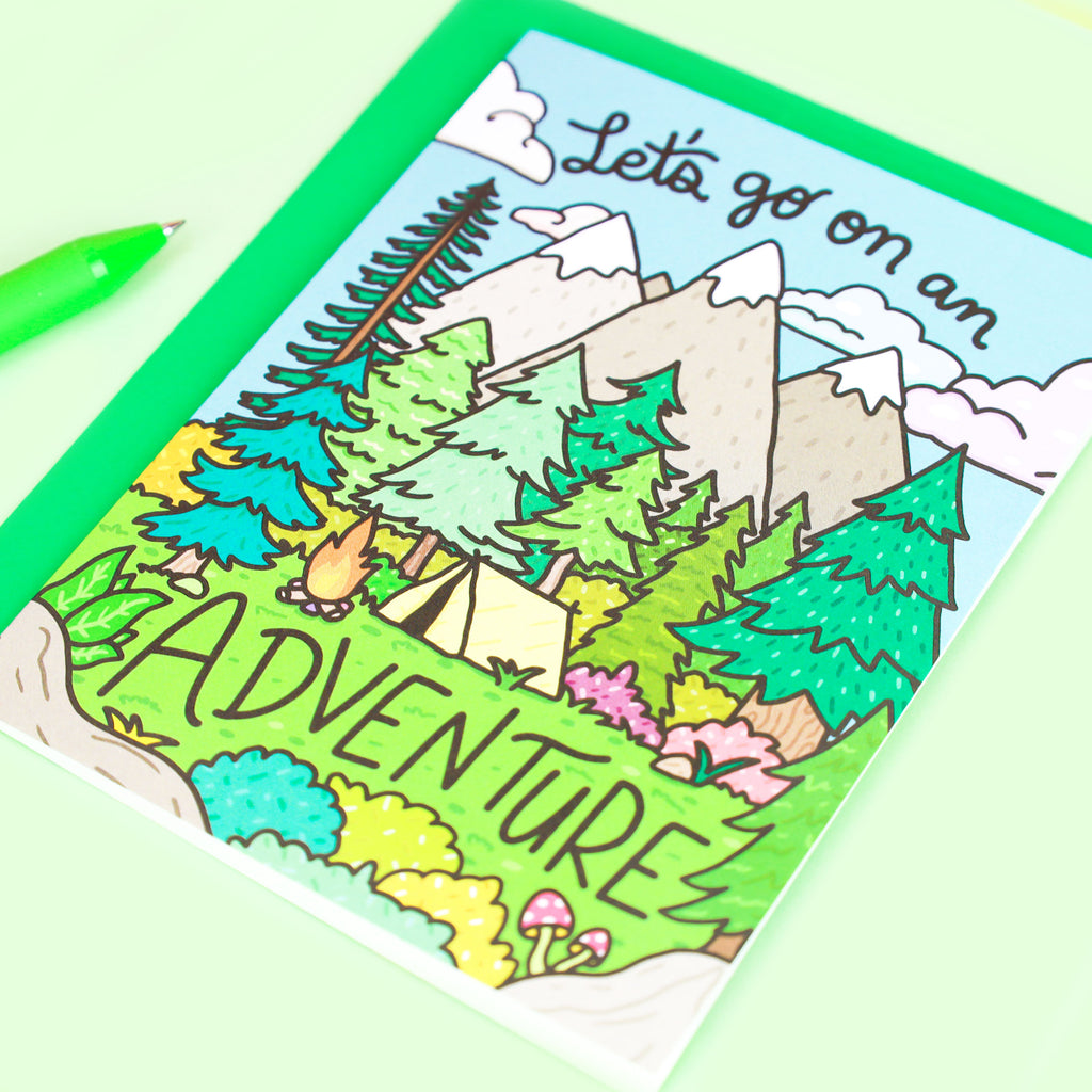 Let's Go On An Adventure, Mountains Card, Cute Friendship Card, Outdoorsy Card, Adventurer Card, The Great Outdoors, Forest, Anniversary