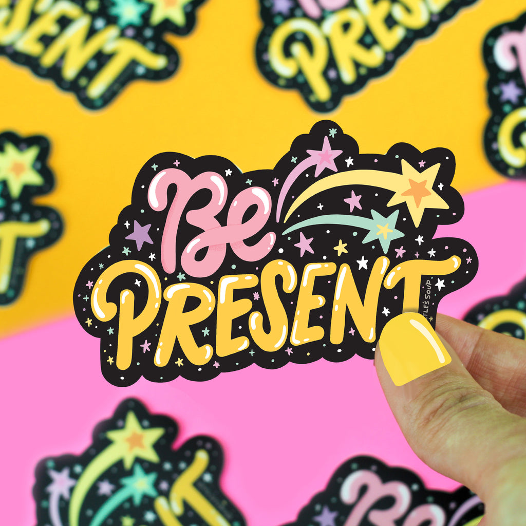 Be Present, Mindfulness Vinyl Sticker, Happiness, Motivational, Inspirational, Meditate, Sticker for, Water Bottle, Laptop, Journal, Decal