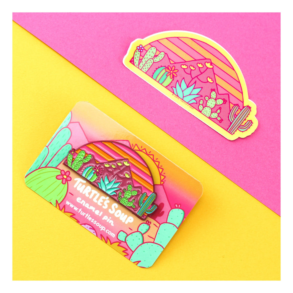 Desert-Horizon-Sunset-Sticker-Enamel-Pin-Brooch-Turtles-Soup-Gift-Set-Cacti-Mountains