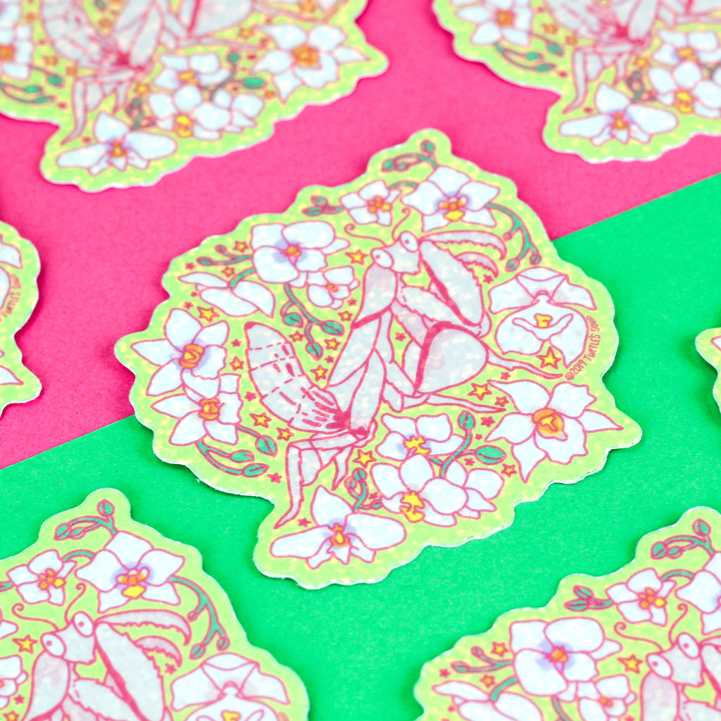 Orchid Mantis Glitter Sticker,Orchid Mantis, Cute Stickers, Glitter Vinyl Sticker, Floral, Laptop Stickers, Pink, Praying Mantis, Insect Decal, Bugs, Turtle's Soup