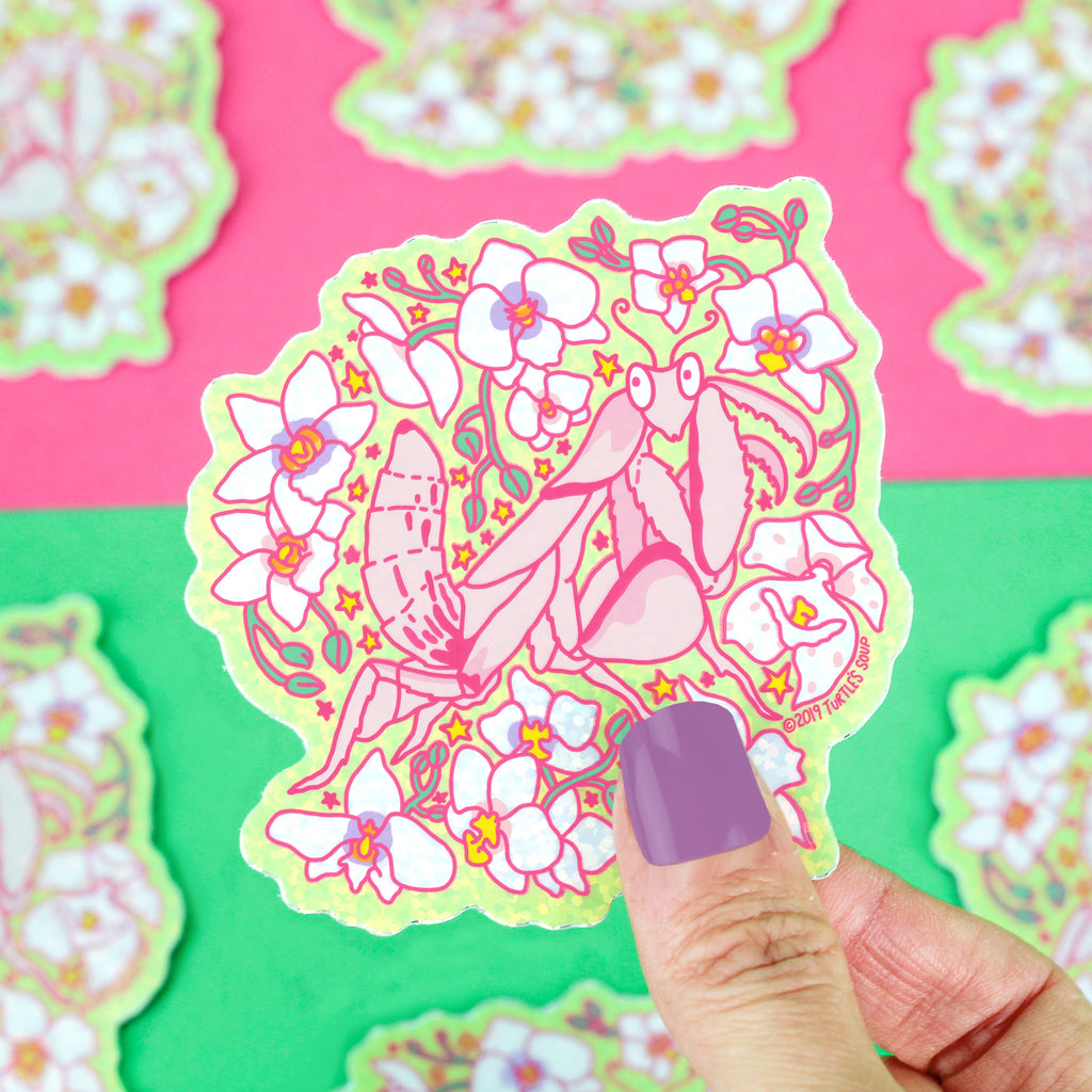 Orchid Mantis Glitter Orchid Mantis, Cute Stickers, Glitter Vinyl Sticker, Floral, Laptop Stickers, Pink, Praying Mantis, Insect Decal, Bugs, Turtle's Soup