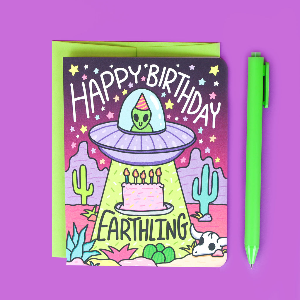 Happy Birthday Earthling, Alien Abduction Birthday Card, Funny Birthday, Desert Alien, Southwestern Birthday, Cactus UFO, Extraterrestrial