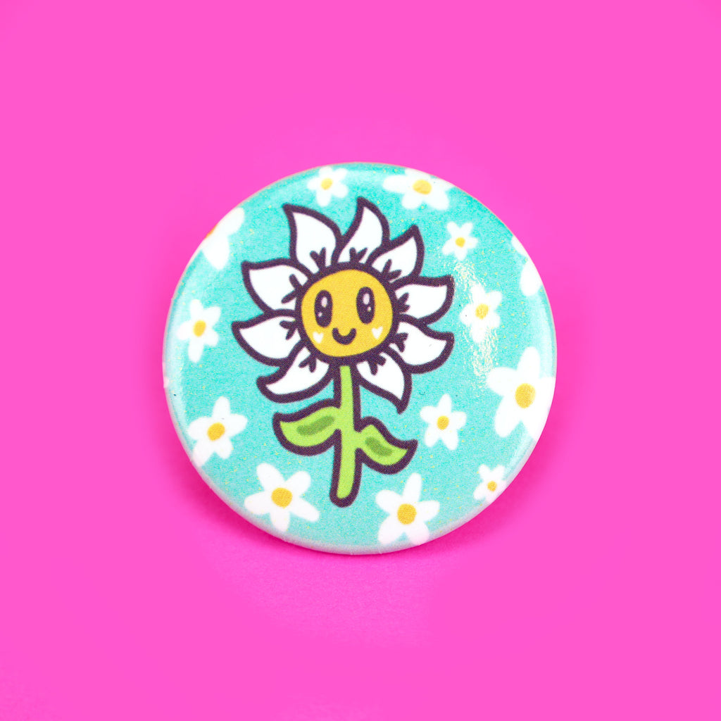 Happy Little Daisy Pinback Button, Daisy Flower, Cute Flower Art, Pinback Badge for Backpack, Jacket, Hat, Cool Flower Pin, Adorable Drawing