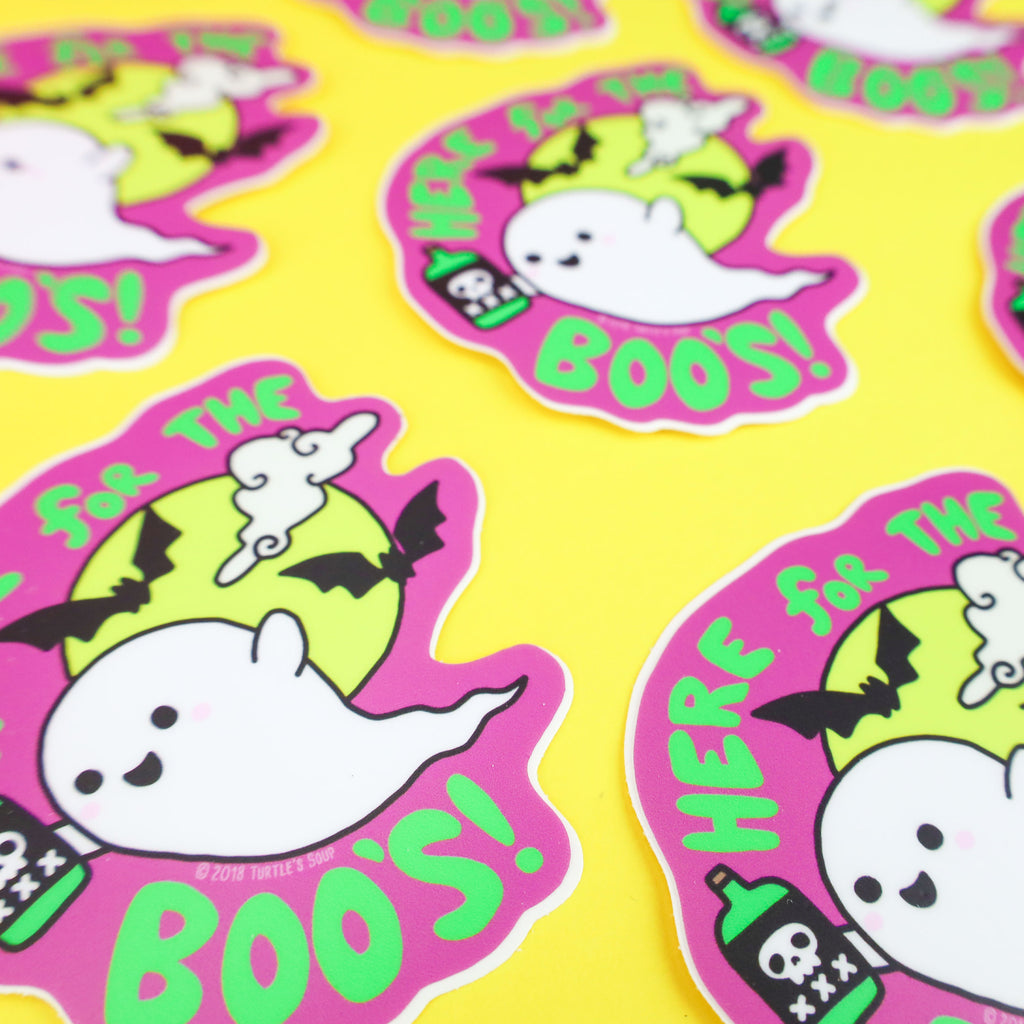 Here For The Boos, Halloween Sticker, Ghost Decal, Laptop Stickers, Halloween Party, Beer
