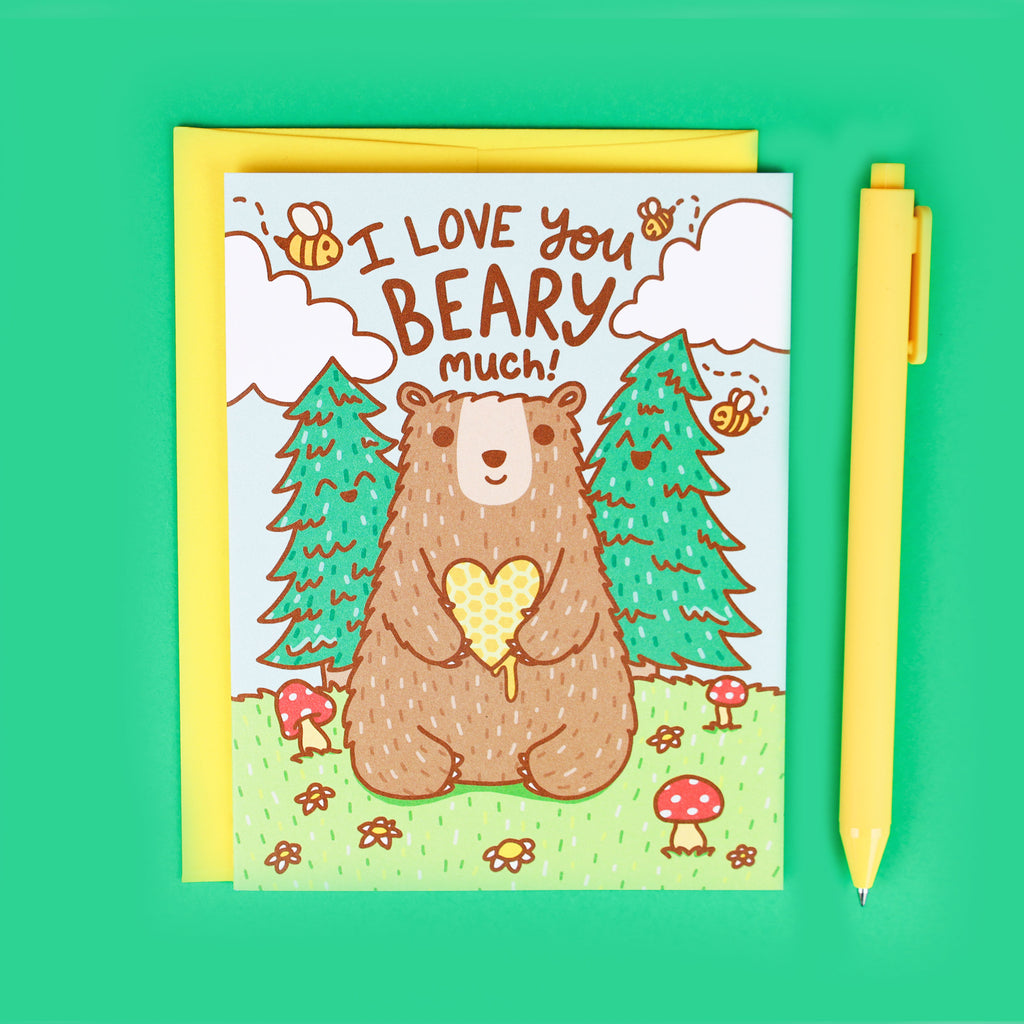 Cute Bear Valentine Card, Love You Beary, Valentines Day, Forest Animal, Boyfriend, Nature Lover Gift, Outdoorsy, Love You, Funny