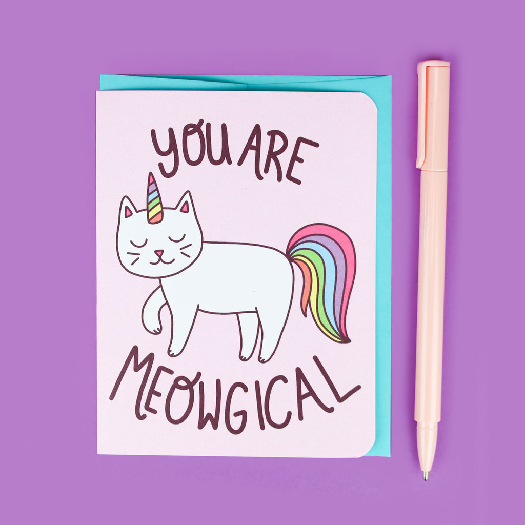 Child's Birthday Card, Cute Cat Card, You Are Meowgical Cat Card, Magical Cat, Cute Card For Friend, Friendship Valentine, Cat Lady Card