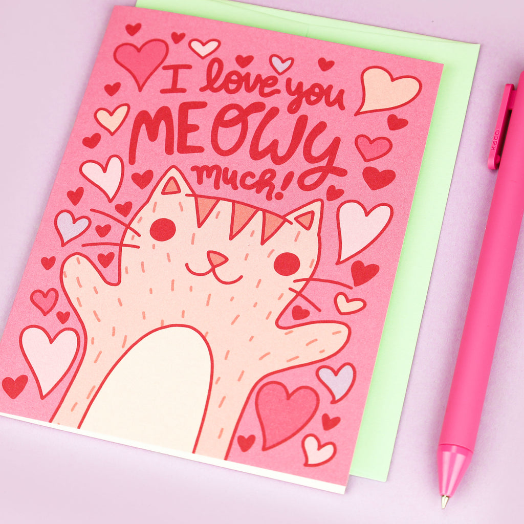 Cat Love Card, Kitty Anniversary Card, Meowy Much Pun, Gift for Her, Card from Cat, Cat Lover Gift, Cat Gift, Cat Mom, Meowy Much, Cat Lady