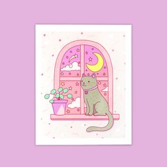 Moonlight, cat, windowsill, adorable, pastel art print