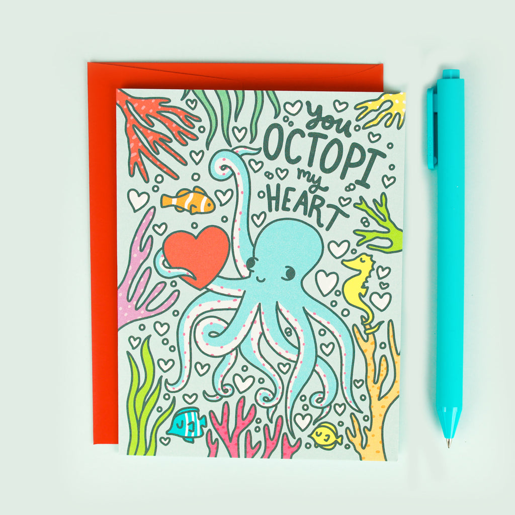 Octopus Love Card, Anniversary, Silly Pun, Love, Sea Creature, Cute Octopi, Boyfriend Card, Aquatic, Octopus Gift, Anniversary