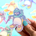 Skiing Penguin Holographic Sticker
