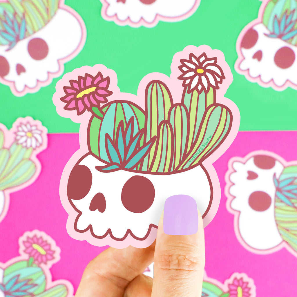 Skull-Planter-Plant-Cactus-Cacti-Succulent-Garden-Cute-Flower-Floral-Pastel-Goth-Pretty-Pink-Green-Turtles-Soup-Art-Vinyl-Sticker-Water-Bottle-Laptop-Waterproof-Adorable-Decal-for-Car