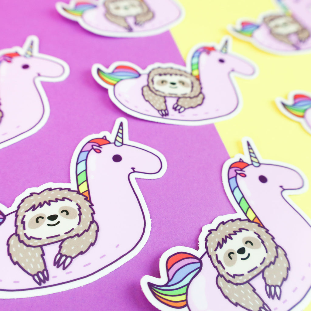 Sloth Sticker, Vinyl Decal, Fun Stickers, Colorful Stickers, Rainbow Unicorn, Pool Float, Summer Gift