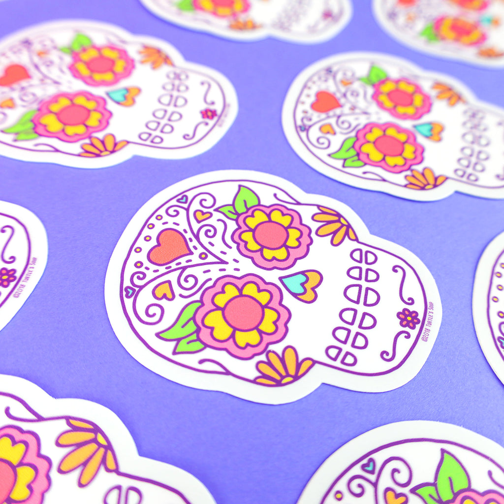 Sugar-Skull-Vinyl-Sticker-Rainbow-turtle-soup-day-of-the-deal-decal-turtles-soup-stickers