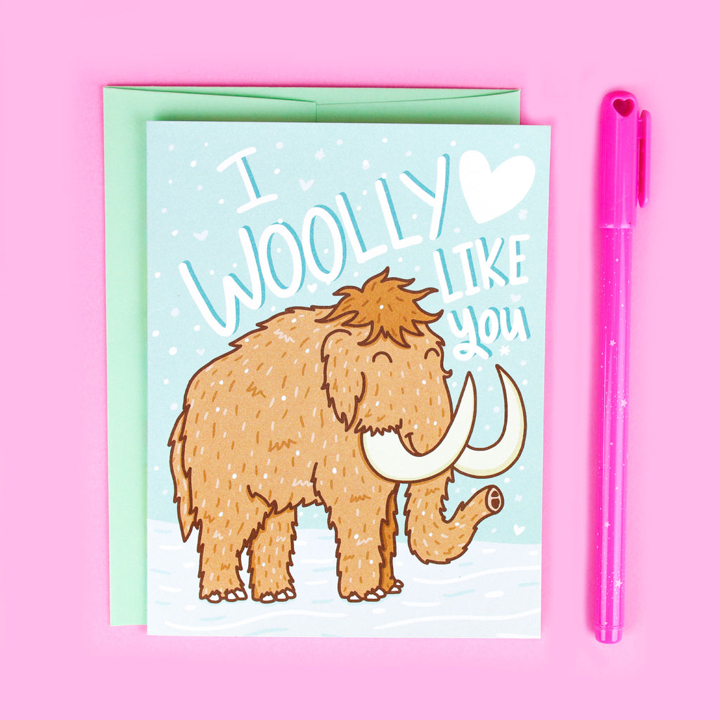 Woolly Mammoth Love Card, Friendship Card, Funny Pun, Geeky Love, Prehistoric, Card For Boyfriend, Cute Love, Gift Her, Ice Age