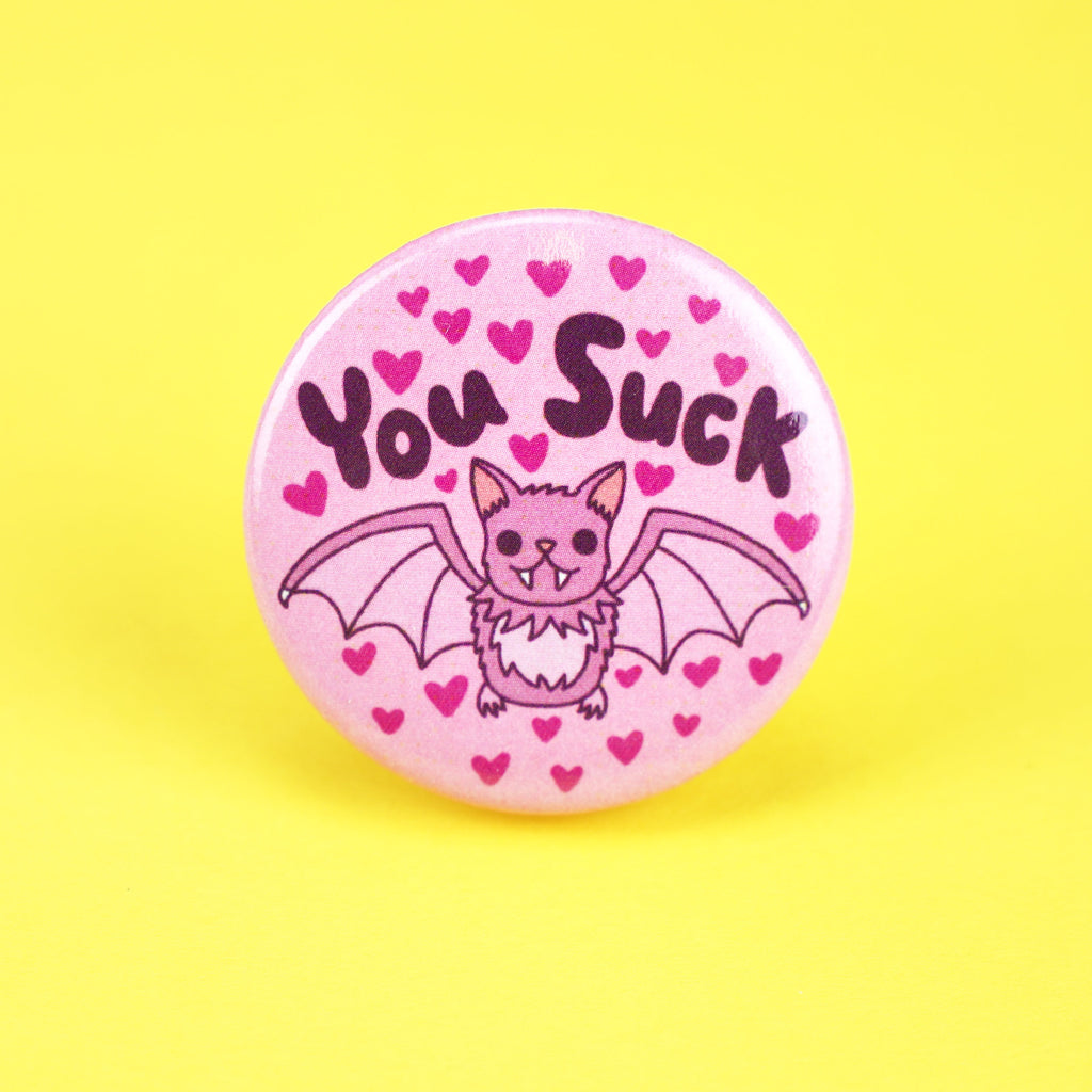 You Suck Pin, Funny Bat Pin, Halloween Gift, Party Favor, Pastel Goth Pin, Cute Bat, Funny Pun, Sarcastic Pinback, Button, Bat Lover, Gift