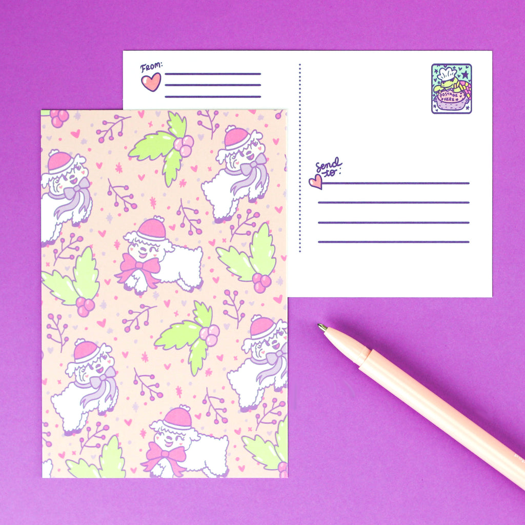 fleece,navidad,sheep,lamb,christmas,holiday,festive,cute,pastel,postcard,stationery,turtles,soup,card
