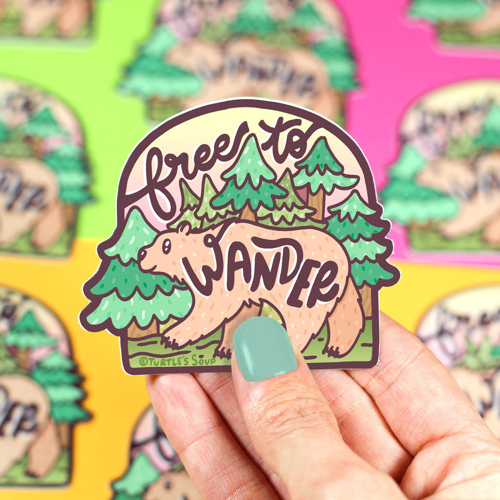 free-to-wander-bear-woodland-animals-vinyl-sticker-decal