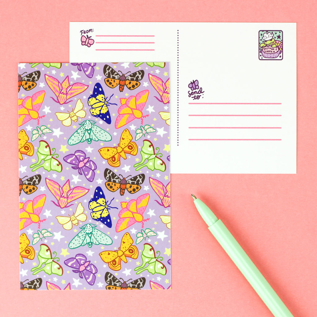 moths,moonlight,adorable,pretty,purple,turtles,soup,stationery,postcard