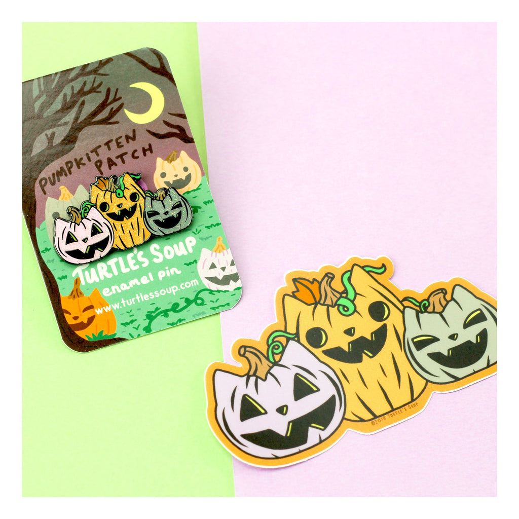 pumpkin cat, witchy, halloween,enamel pin, art, turtles soup, vinyl sticker, decal, adorable, spooky