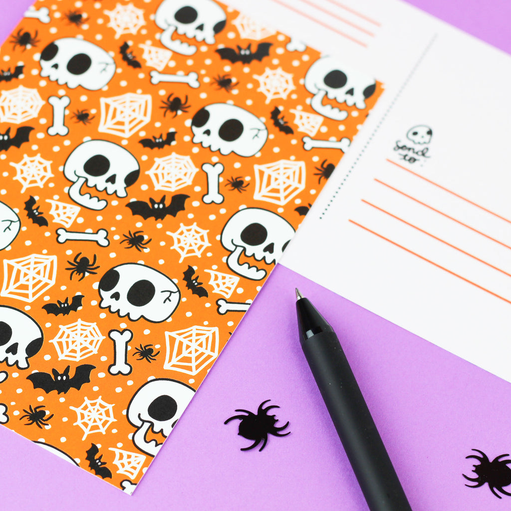 Halloween Skull and Bones Postcard