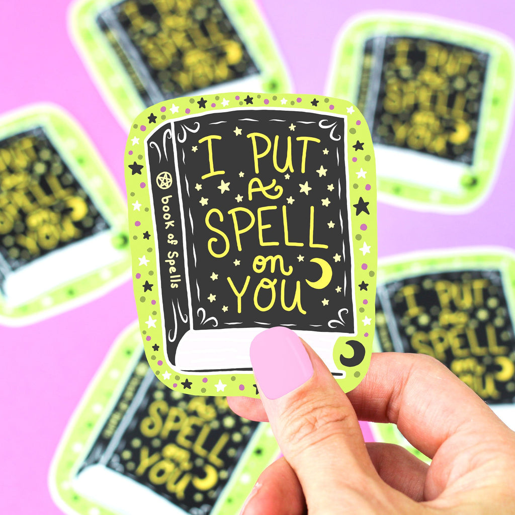 spellbook-sticker-spooky-witchy-babe-spell-on-you-vinyl-decal