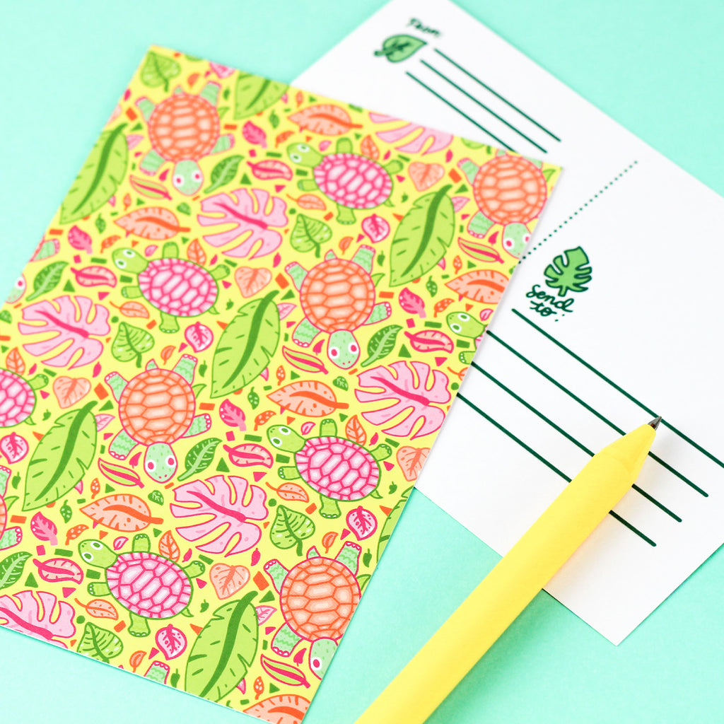 tropical,turtles,plants,cute,monstera,turtles,soup,leaves,stationery,postcard,card,postage