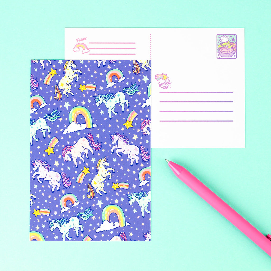 unicorn,rainbows,cute,postcard,postage,magical,turtles,soup,stationery,adorable,stars
