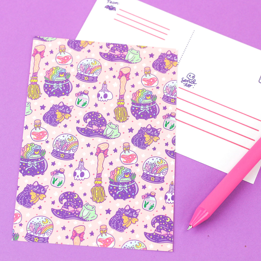 witchy,witch,witches,potion,hat,broomstick,cauldron,cute,pastel,skull,crystal,ball,turtlessoup,postcard,stationery,gothic,fortune,cute
