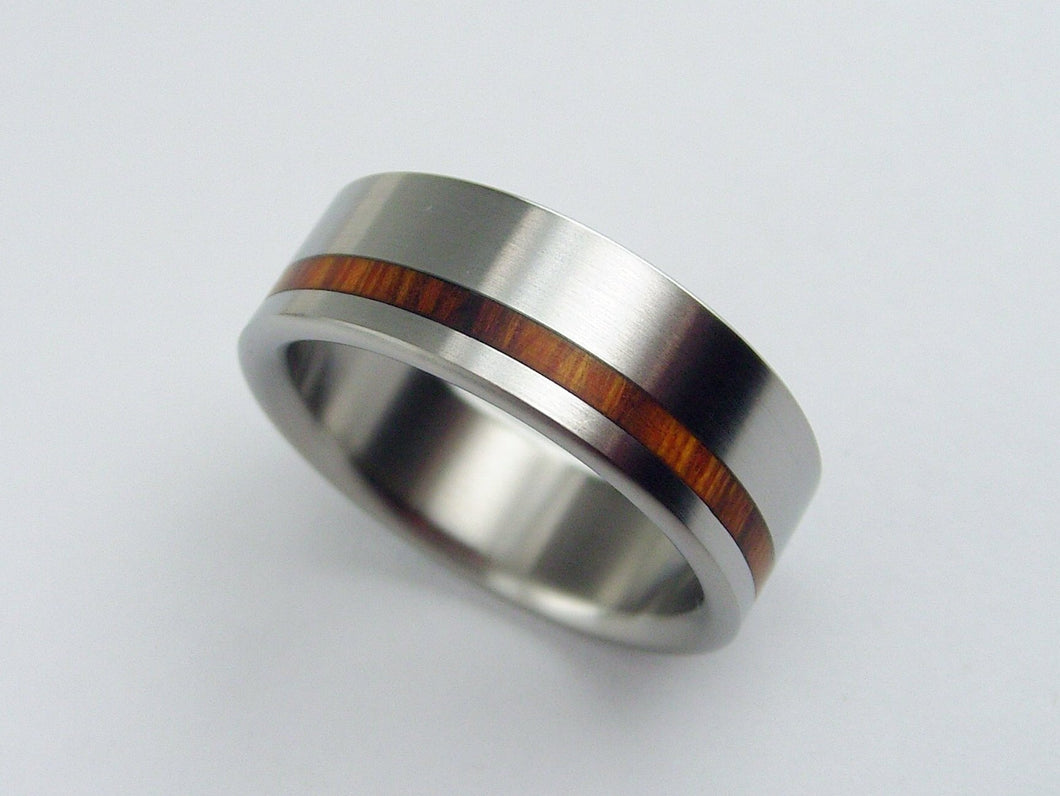 Arizona Desert Ironwood Wooden Wedding Band in Brushed Titanium -- Offset Stripe