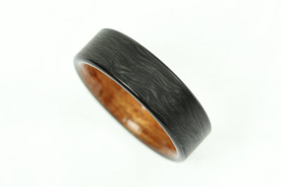 Forged Carbon Ring with Hawaiian Koa Wood Interior