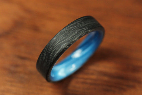 Forged Carbon Ring with Blue Interior