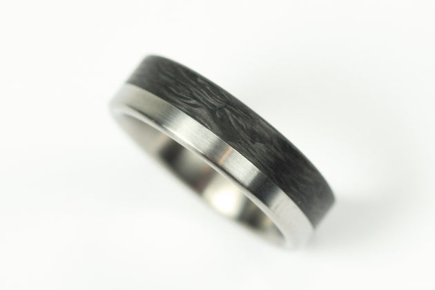Brushed Titanium Ring with Forged Carbon Fiber