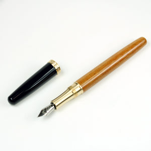 Linen Micarta Fountain Pen with Brass Accents and a Navy Blue Cap