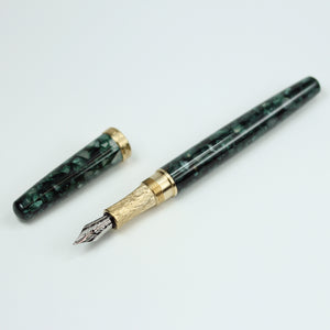 Esquire Emerald Green Acrylic Fountain Pen with Brass Accents