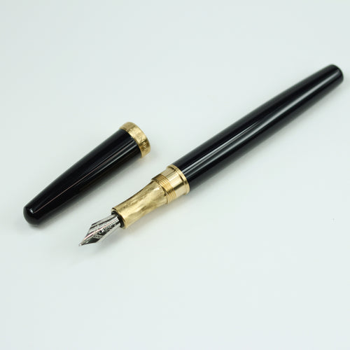 Navy Blue Acrylic Fountain Pen with Brass Accents