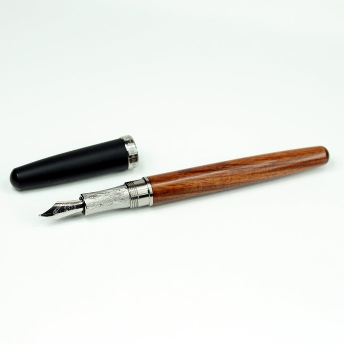 Rosewood Fountain Pen with Titanium Hardware and Black Ebonite Cap