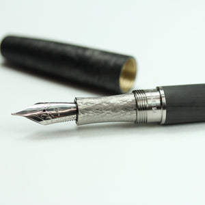 Carbon Fiber Fountain Pen with Clipless Forged Carbon Fiber Cap
