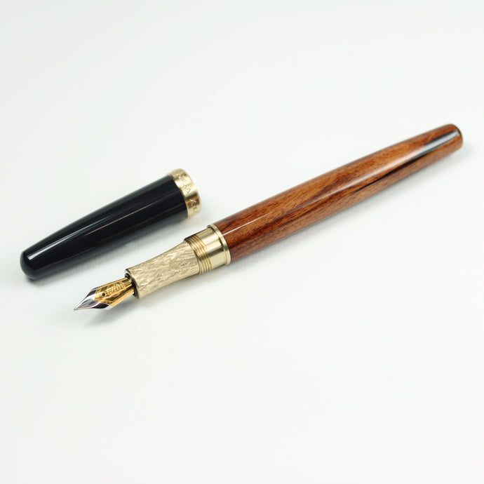Rosewood Fountain Pen with Brass Hardware and Charcoal Gray Cap