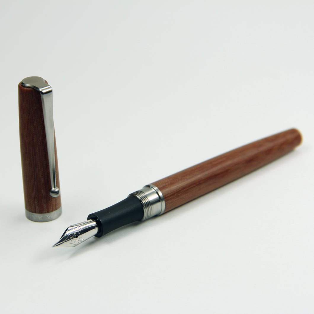 Linen Micarta Fountain Pen with Titanium Waterfall Clip and Ebonite Grip