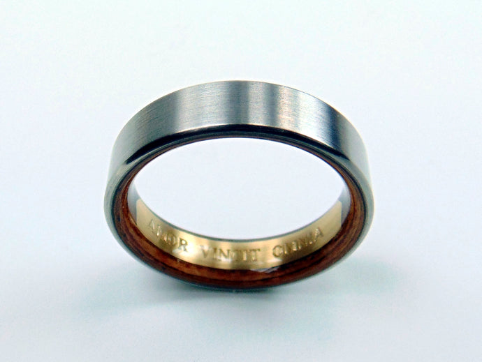 Brass Engraved Nameplate Ring -- Brushed Titanium with Carbon Fiber and Rosewood Interior