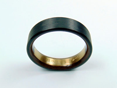 Brass Engraved Nameplate Ring -- Carbon Fiber and Black Walnut Wood Interior