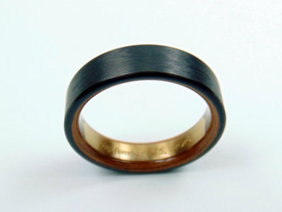Brass Engraved Nameplate Ring -- Carbon Fiber and Hawaiian Koa Interior