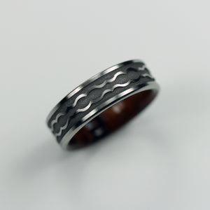 Wood Interior Titanium Wedding Ring with Scalloped Engraving