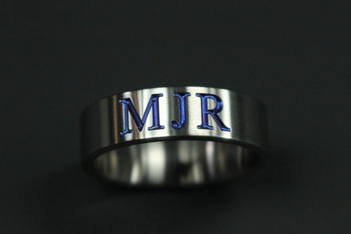 Engraved Monogram Satin Finished Titanium Ring