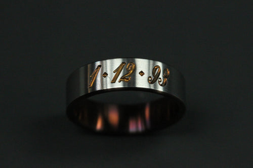 Engraved Date Satin Finished Titanium Ring