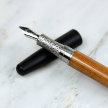 Load image into Gallery viewer, Titanium Fountain Pen with Linen Micarta Body and Black Ebonite Cap