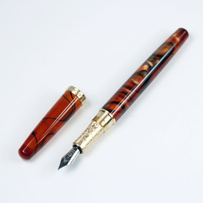 Magma Acrylic Fountain Pen with Brass Accents