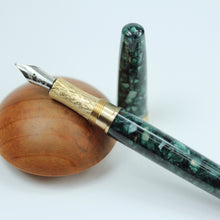 Load image into Gallery viewer, Esquire Emerald Green Acrylic Fountain Pen with Brass Accents