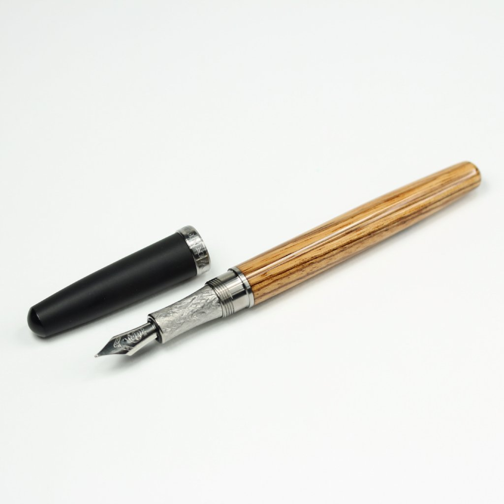 Zebrawood Fountain Pen with Titanium Hardware and Black Ebonite Cap
